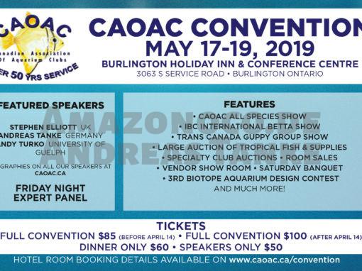 Canadian Association of Aquarium Clubs (CAOAC): Jahreshauptversammlung vom 17. bis 19. Mai